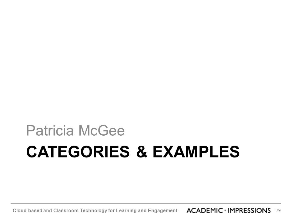 Patricia McGee Categories & Examples
