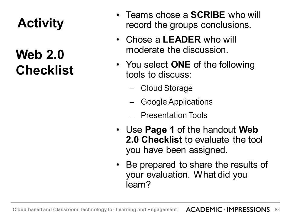 Activity Web 2.0 Checklist