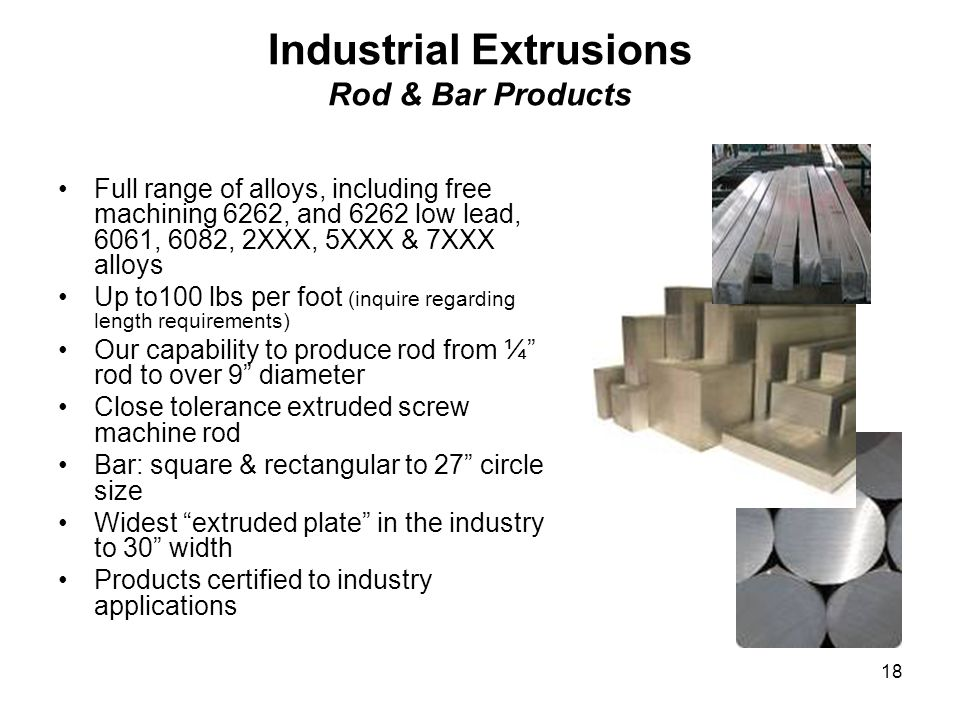 Industrial Extrusions Rod & Bar Products