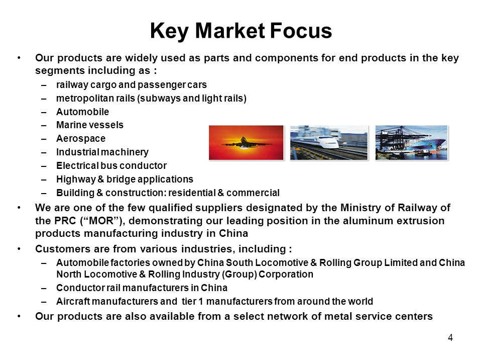 Key Market Focus Our products are widely used as parts and components for end products in the key segments including as :