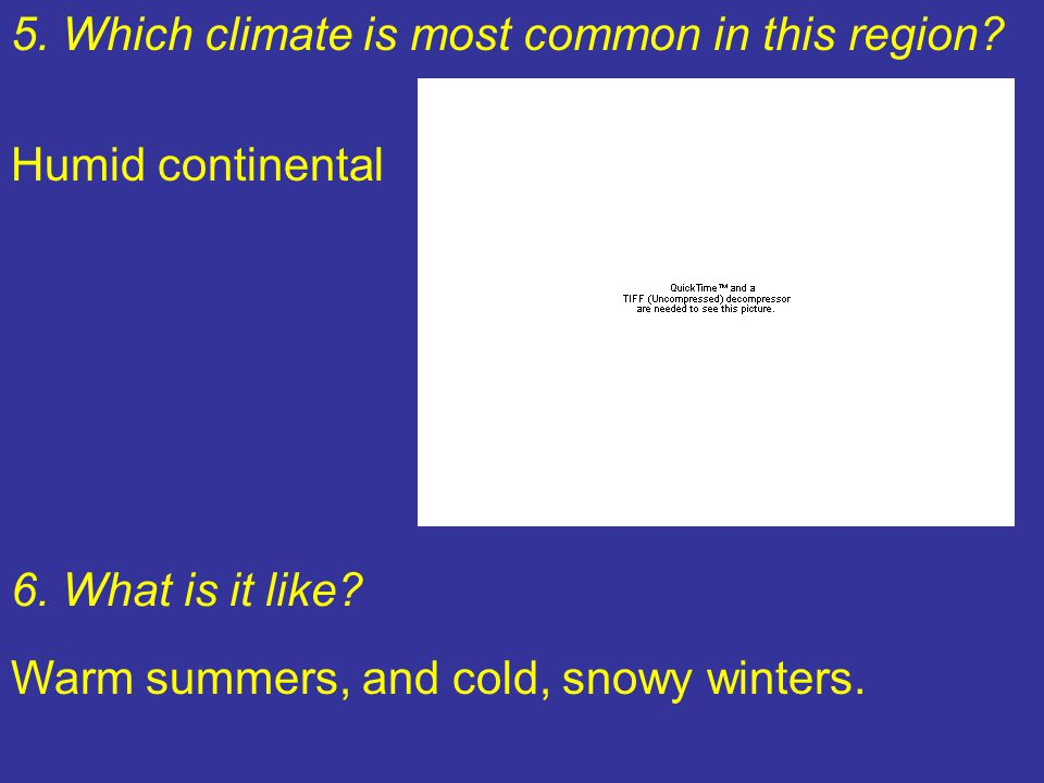 5. Which climate is most common in this region