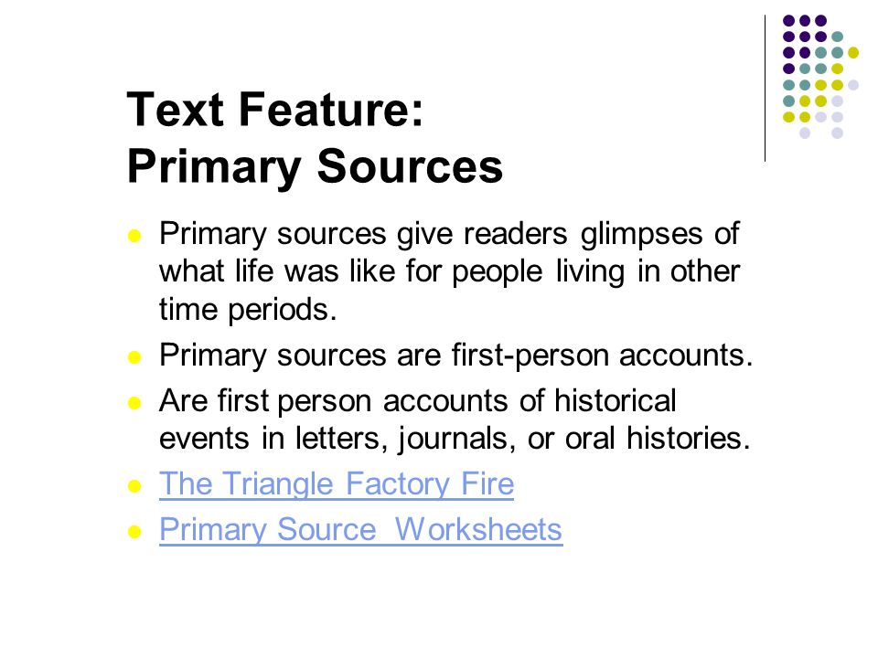 Text Feature: Primary Sources