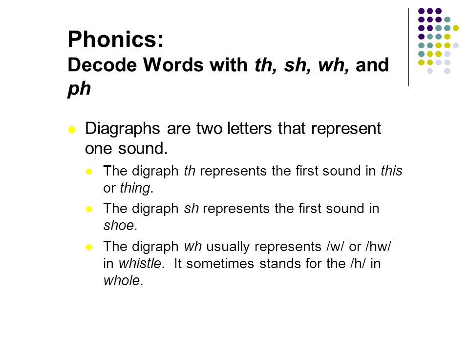 Phonics: Decode Words with th, sh, wh, and ph
