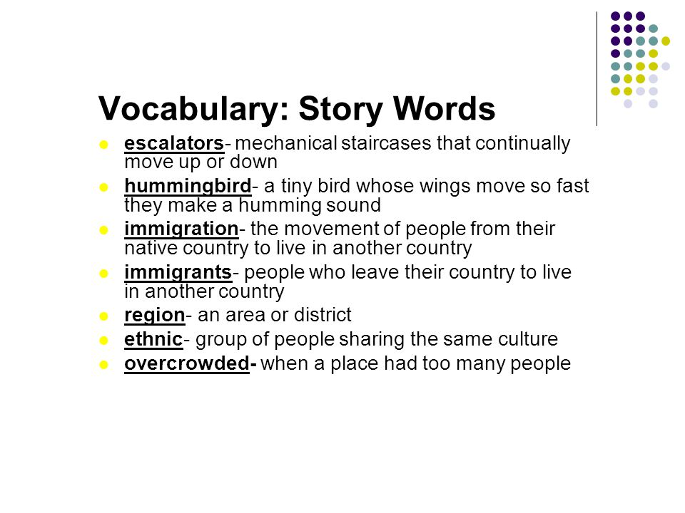 Vocabulary: Story Words
