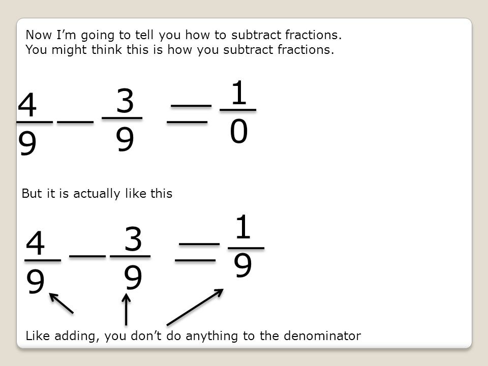 Now I'm going to tell you how to subtract fractions.