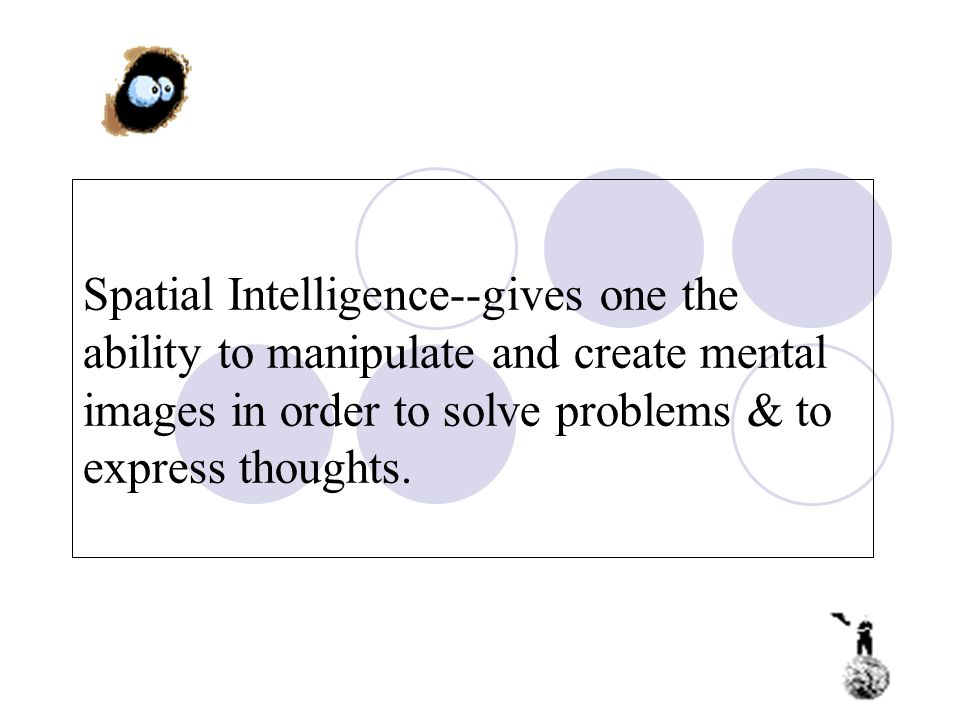 Spatial Intelligence--gives one the ability to manipulate and create mental images in order to solve problems & to express thoughts.