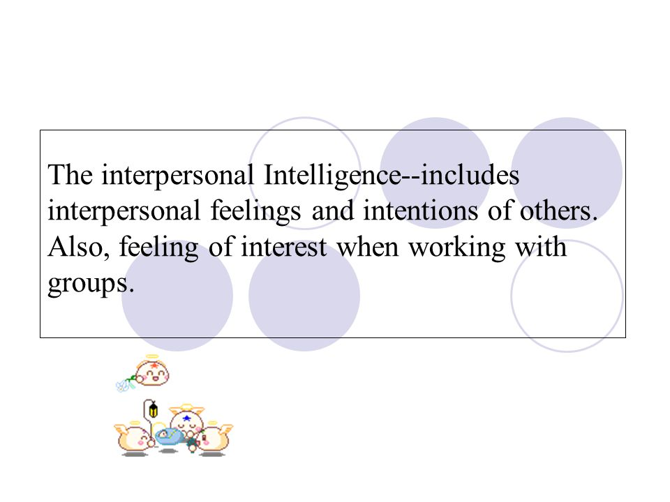 The interpersonal Intelligence--includes interpersonal feelings and intentions of others.