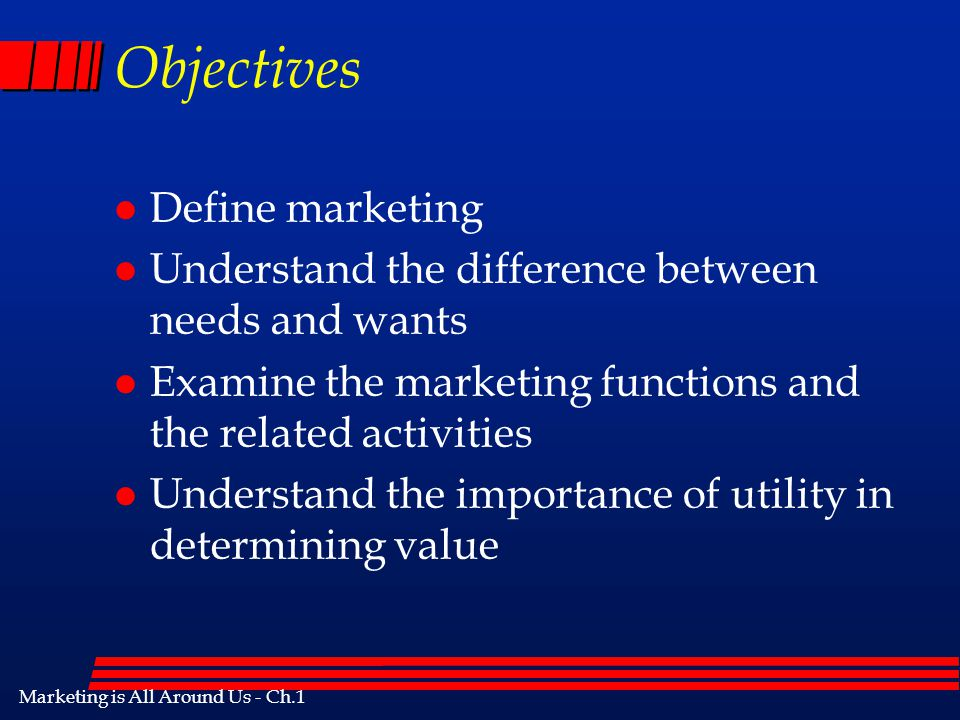 Objectives Define marketing