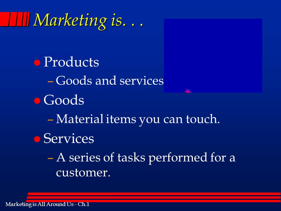 Marketing is. . . Products Goods Services Goods and services.