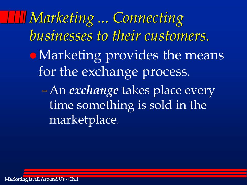 Marketing ... Connecting businesses to their customers.