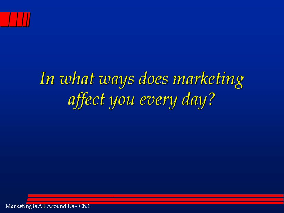 In what ways does marketing affect you every day