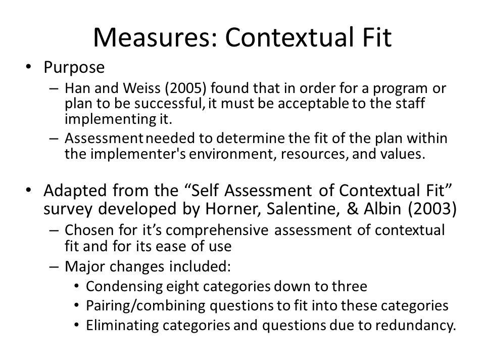 Measures: Contextual Fit