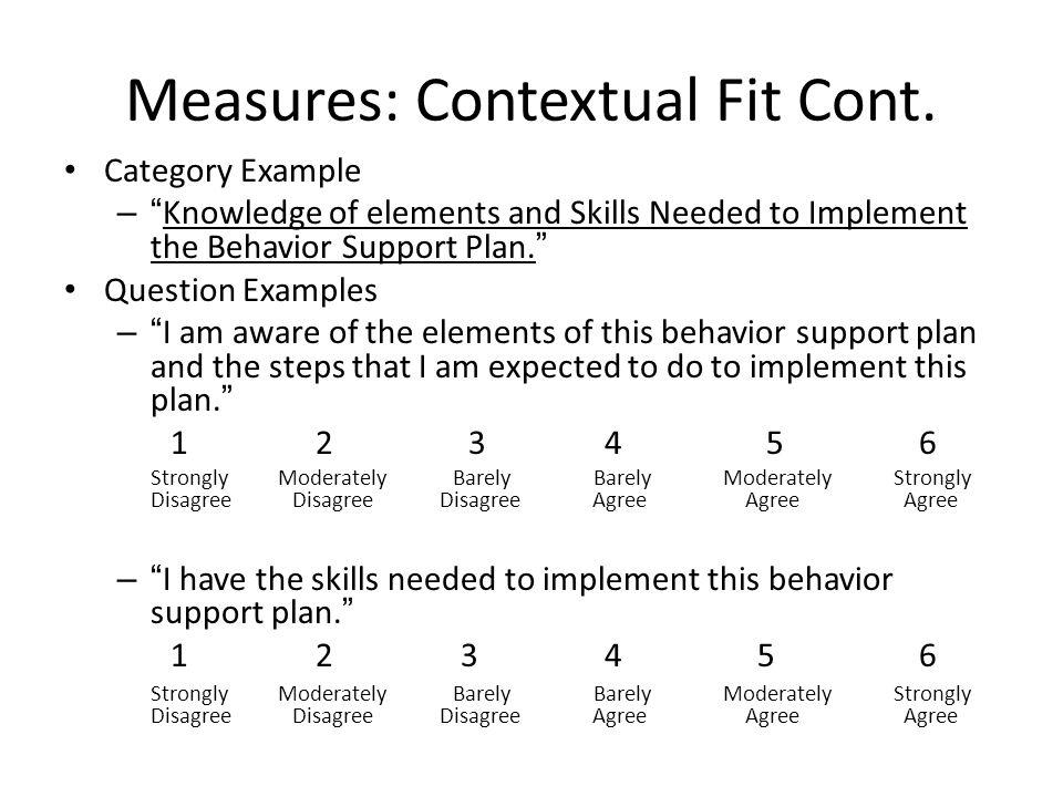 Measures: Contextual Fit Cont.