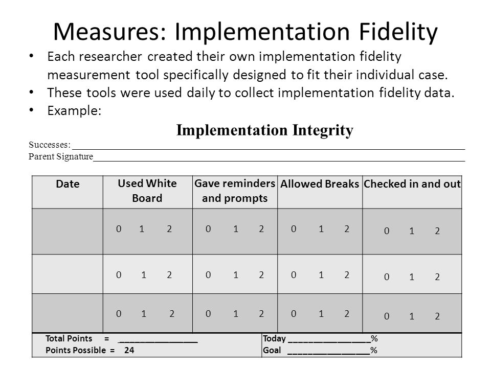 Measures: Implementation Fidelity