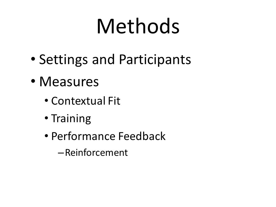 Methods Settings and Participants Measures Contextual Fit Training