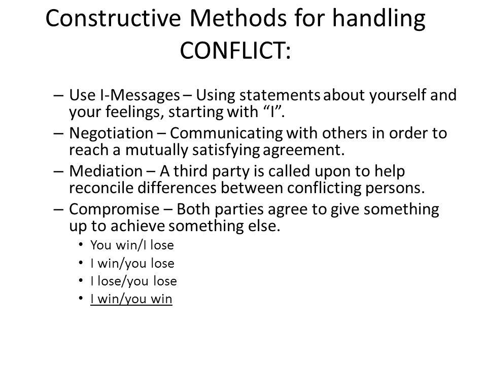 Constructive Methods for handling CONFLICT: