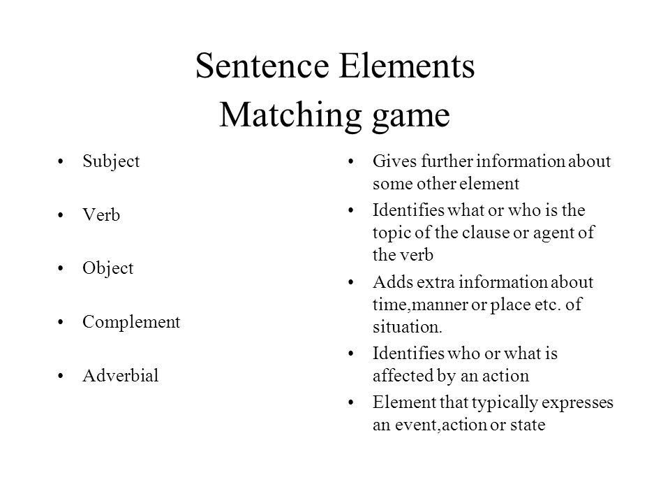 Sentence Elements Matching game