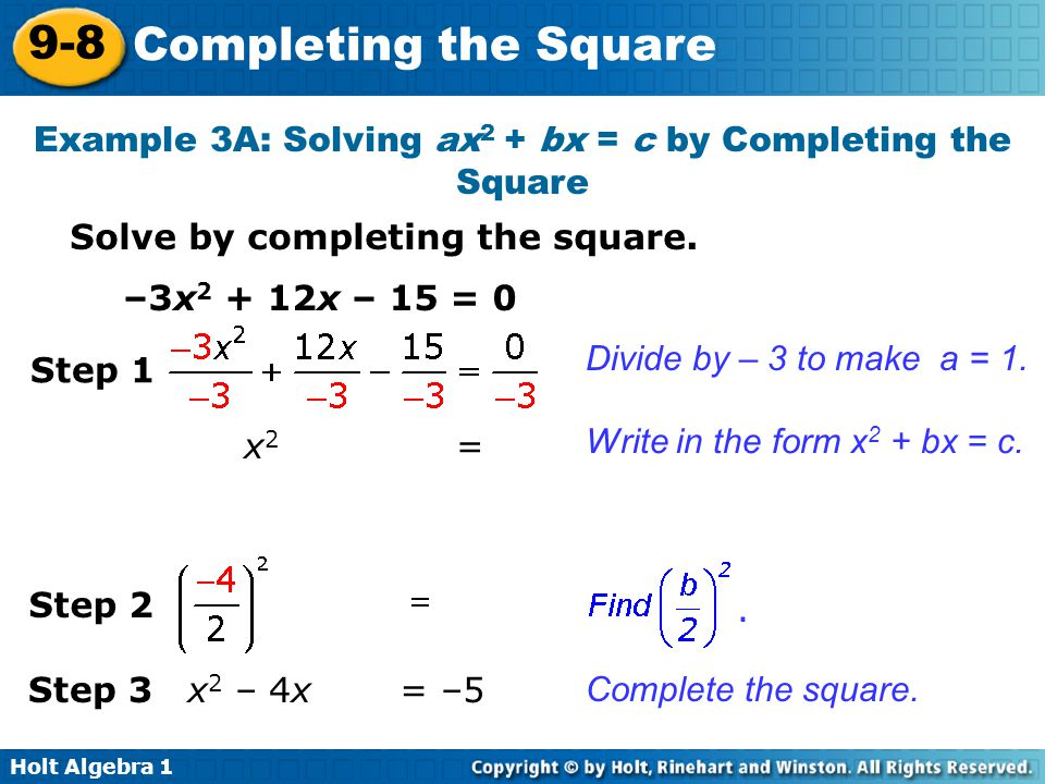 Completing the square worksheet algebra 2 answers