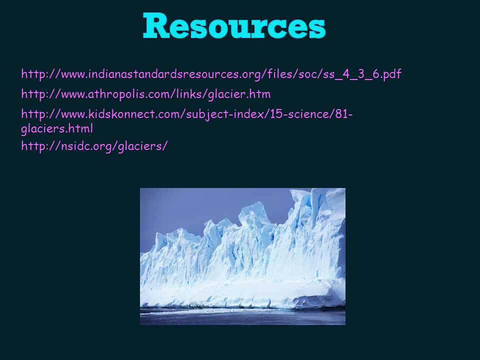 Resources http://www.indianastandardsresources.org/files/soc/ss_4_3_6.pdf. http://www.athropolis.com/links/glacier.htm.