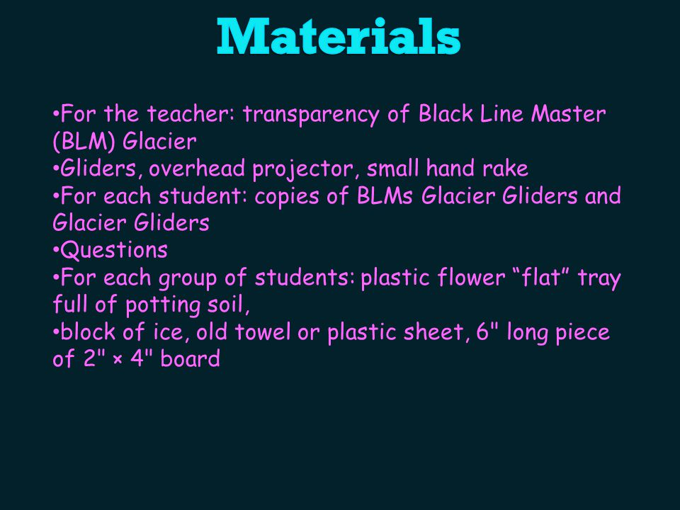 Materials For the teacher: transparency of Black Line Master (BLM) Glacier. Gliders, overhead projector, small hand rake.