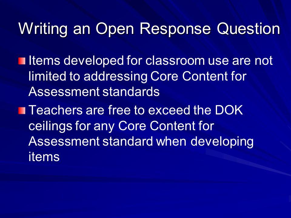 Writing an Open Response Question