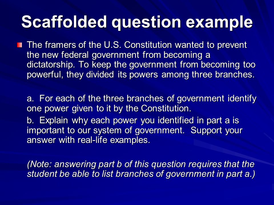 Scaffolded question example