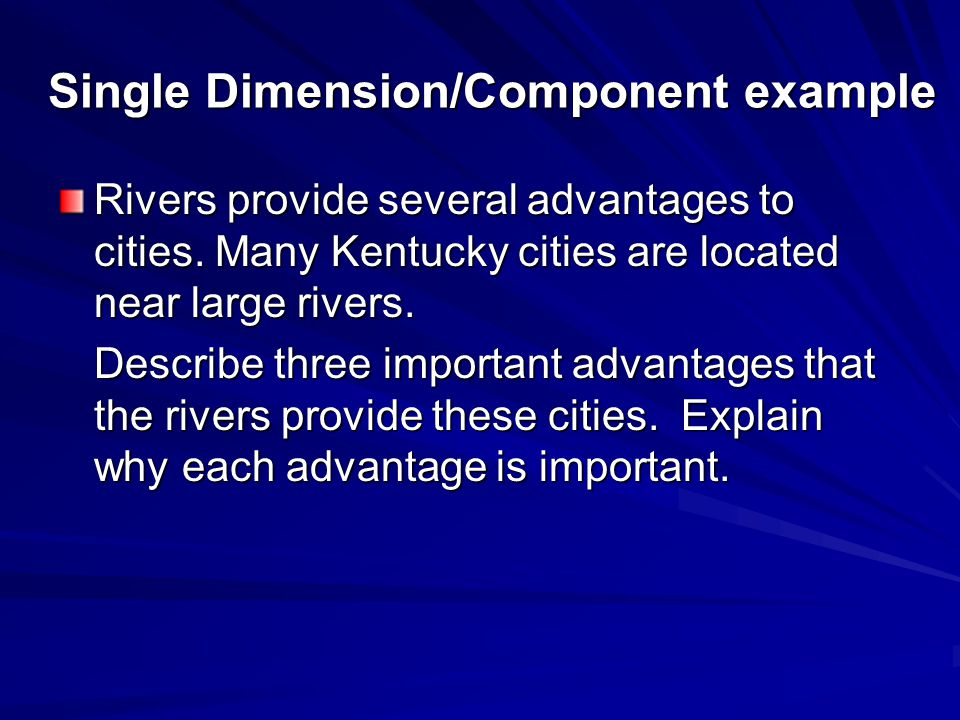 Single Dimension/Component example