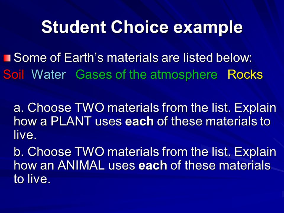 Student Choice example