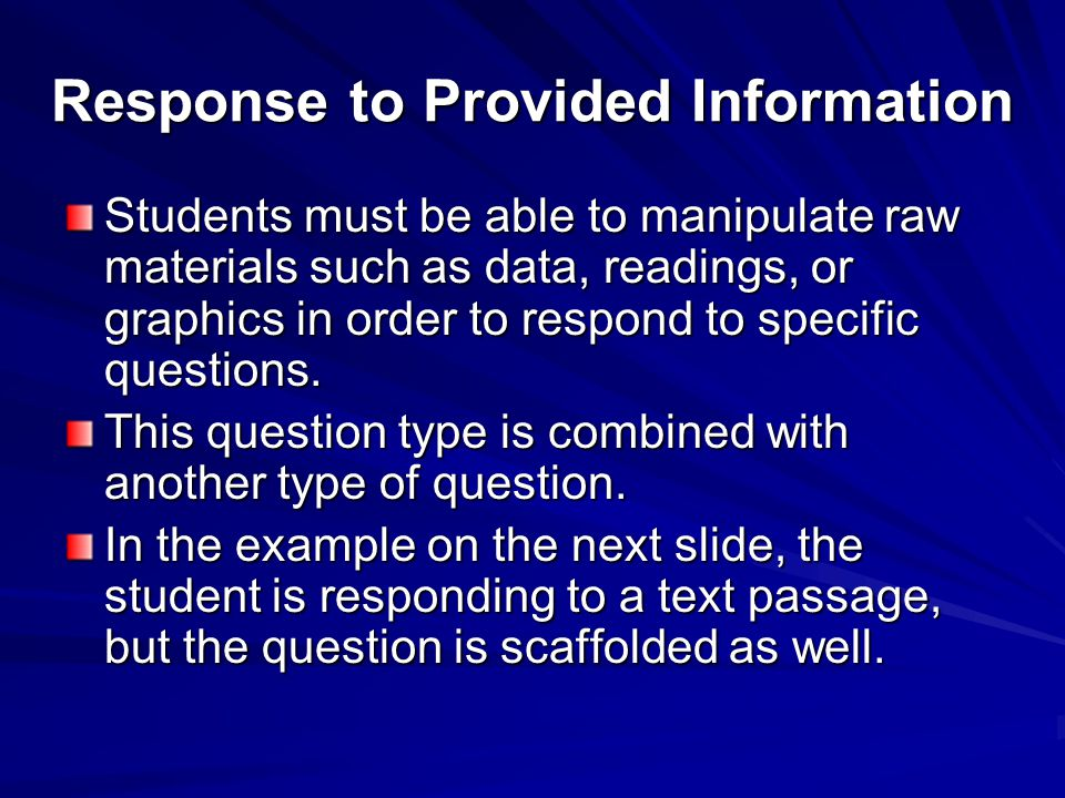 Response to Provided Information