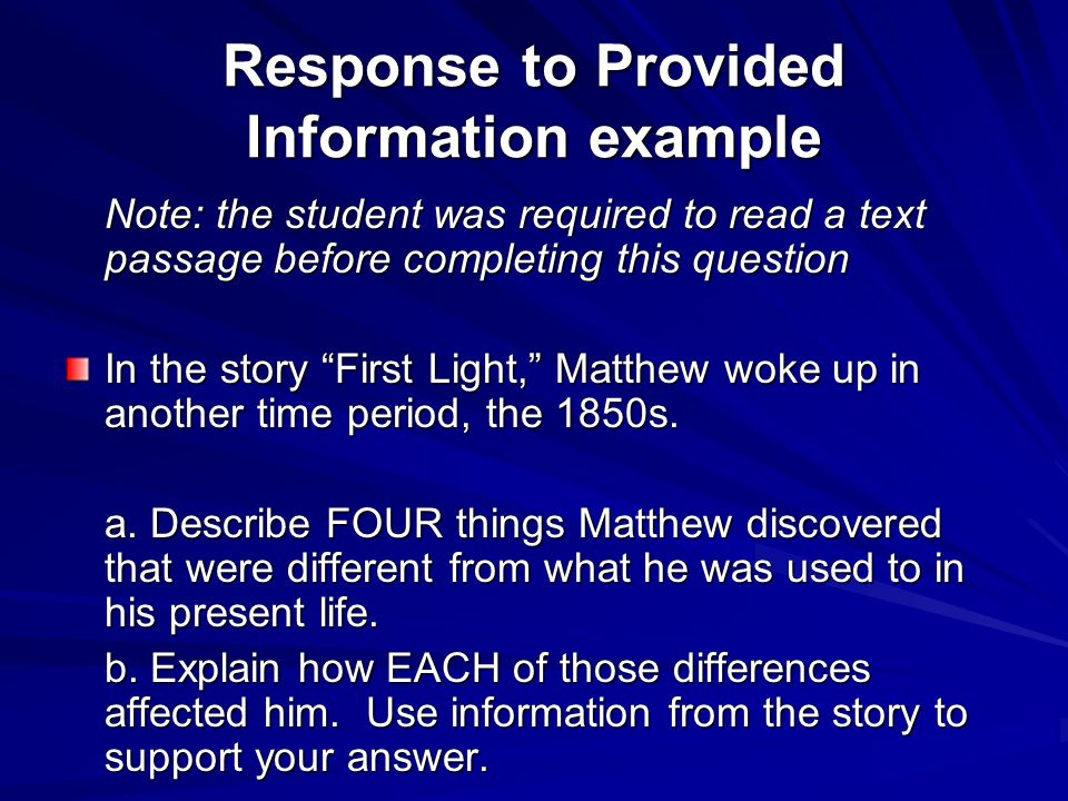Response to Provided Information example