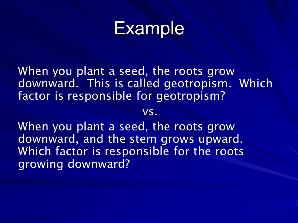 Example When you plant a seed, the roots grow downward. This is called geotropism. Which factor is responsible for geotropism