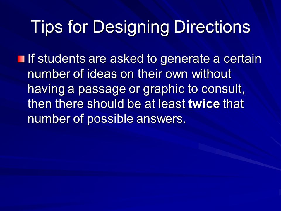 Tips for Designing Directions
