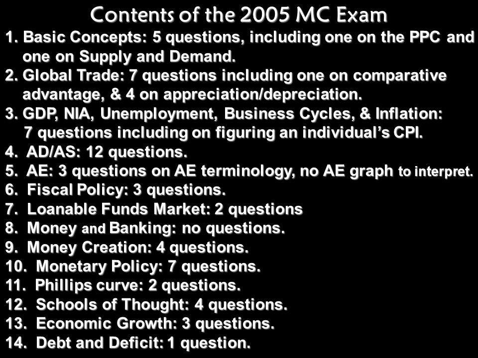 Contents of the 2005 MC Exam Basic Concepts: 5 questions, including one on the PPC and. one on Supply and Demand.