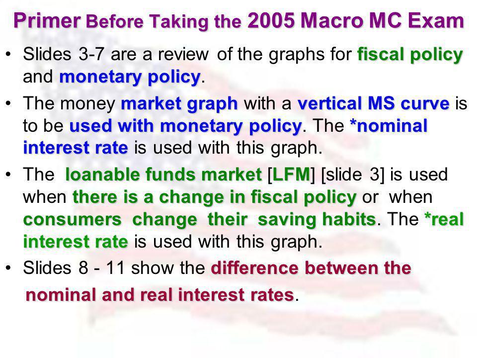Primer Before Taking the 2005 Macro MC Exam
