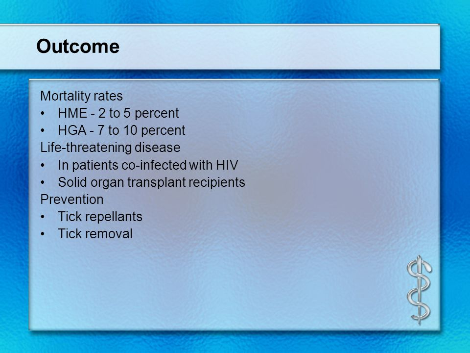 Outcome Mortality rates HME - 2 to 5 percent HGA - 7 to 10 percent