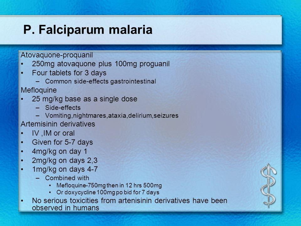 P. Falciparum malaria Atovaquone-proquanil
