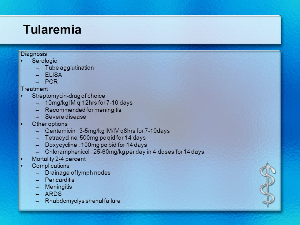 Tularemia Diagnosis Serologic Tube agglutination ELISA PCR Treatment