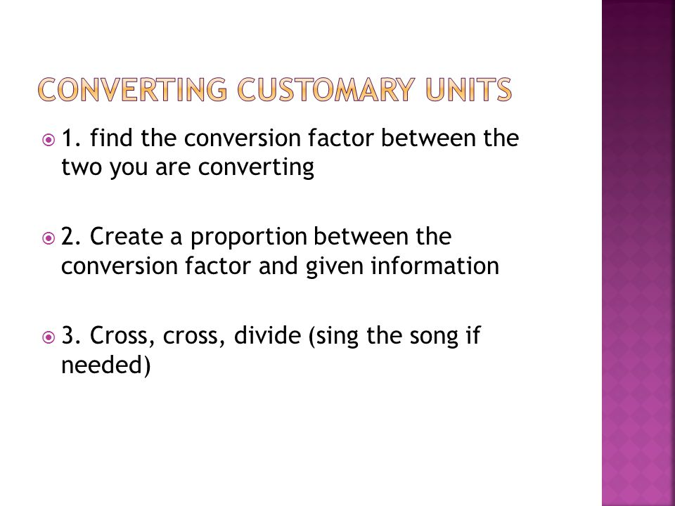 Converting customary units