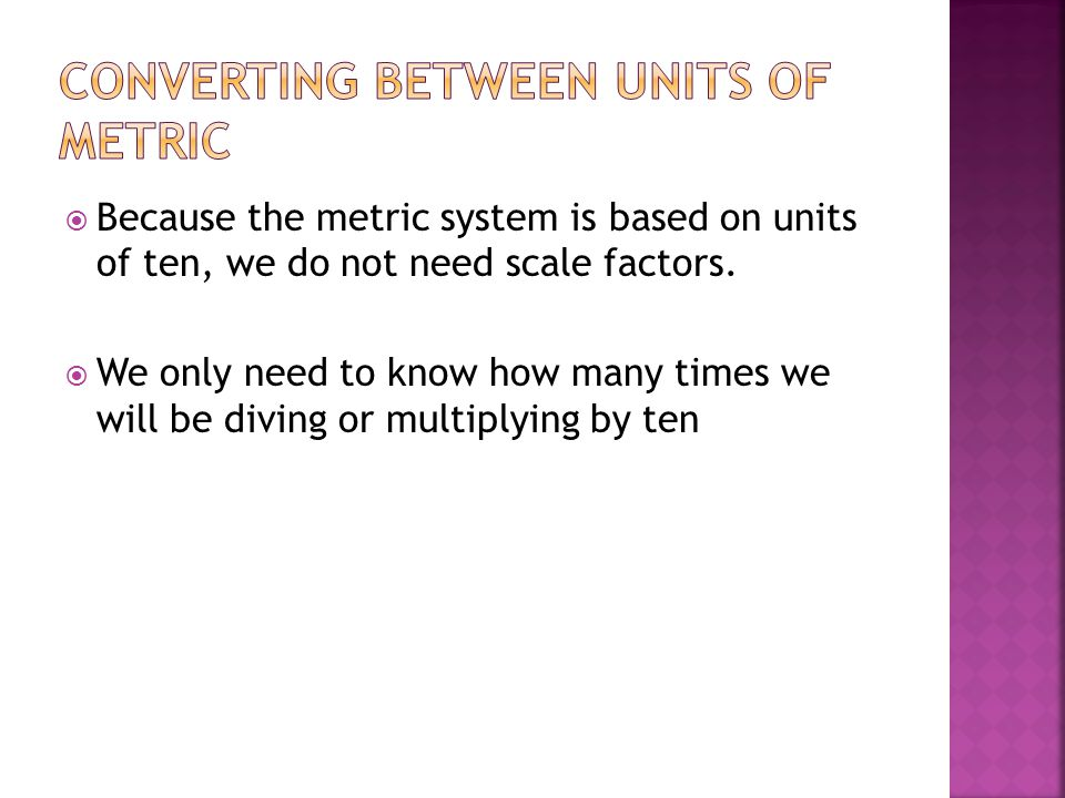 Converting between units of Metric