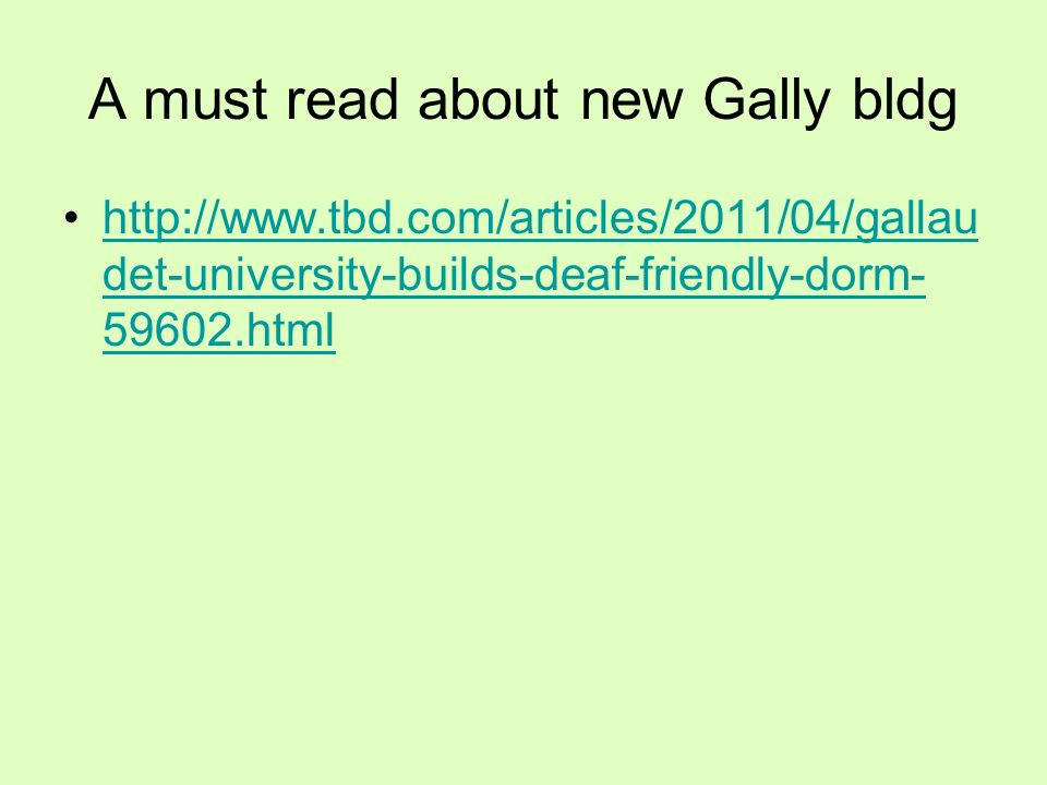A must read about new Gally bldg