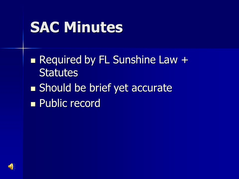SAC Minutes Required by FL Sunshine Law + Statutes