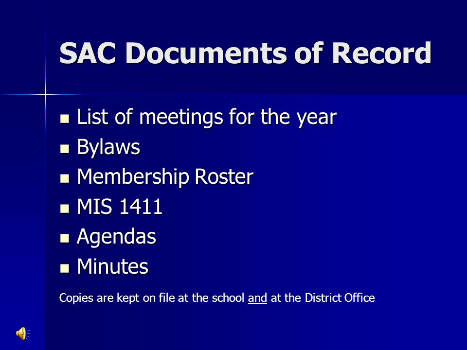 SAC Documents of Record