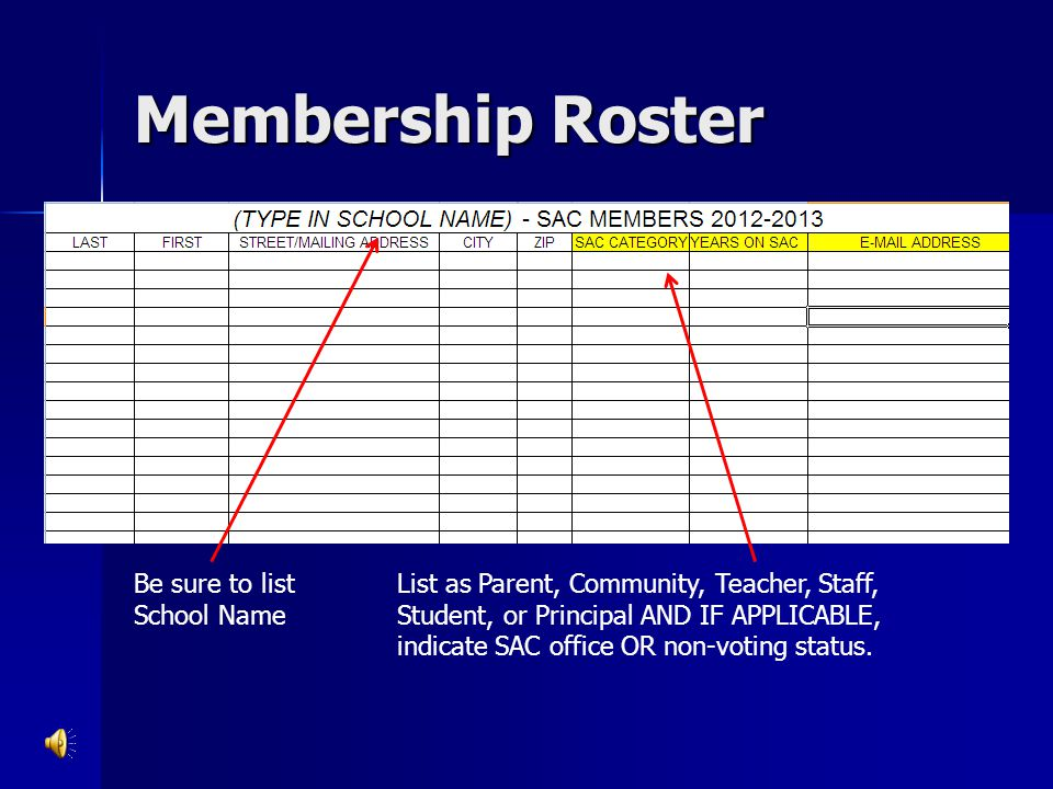 Membership Roster Be sure to list School Name