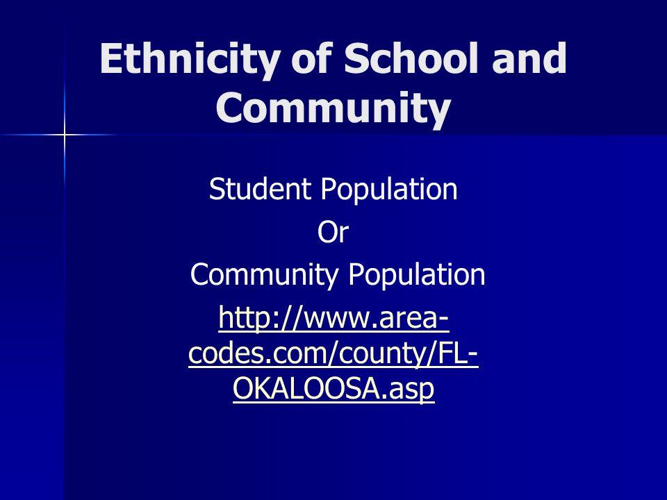 Ethnicity of School and Community