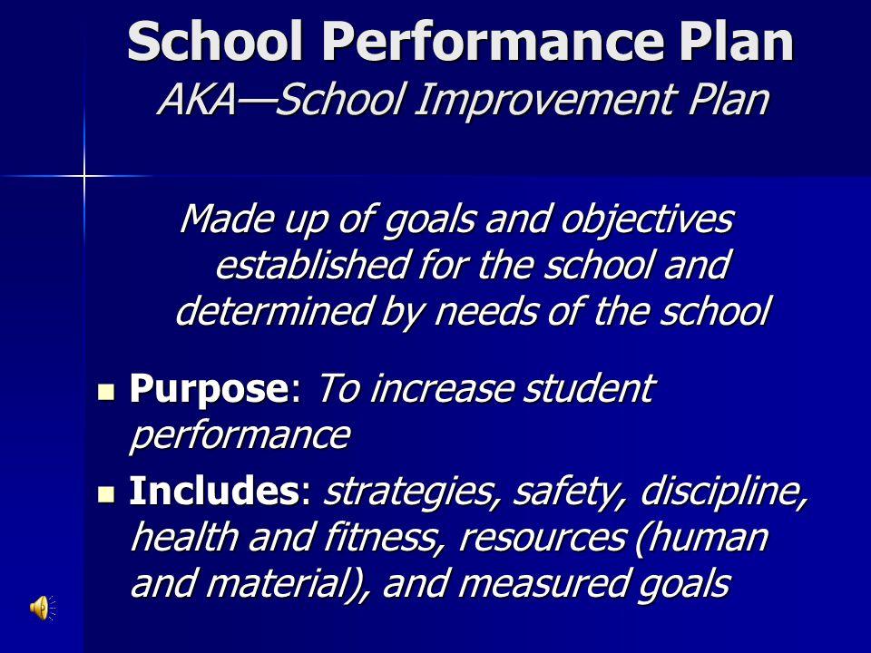 School Performance Plan AKA—School Improvement Plan
