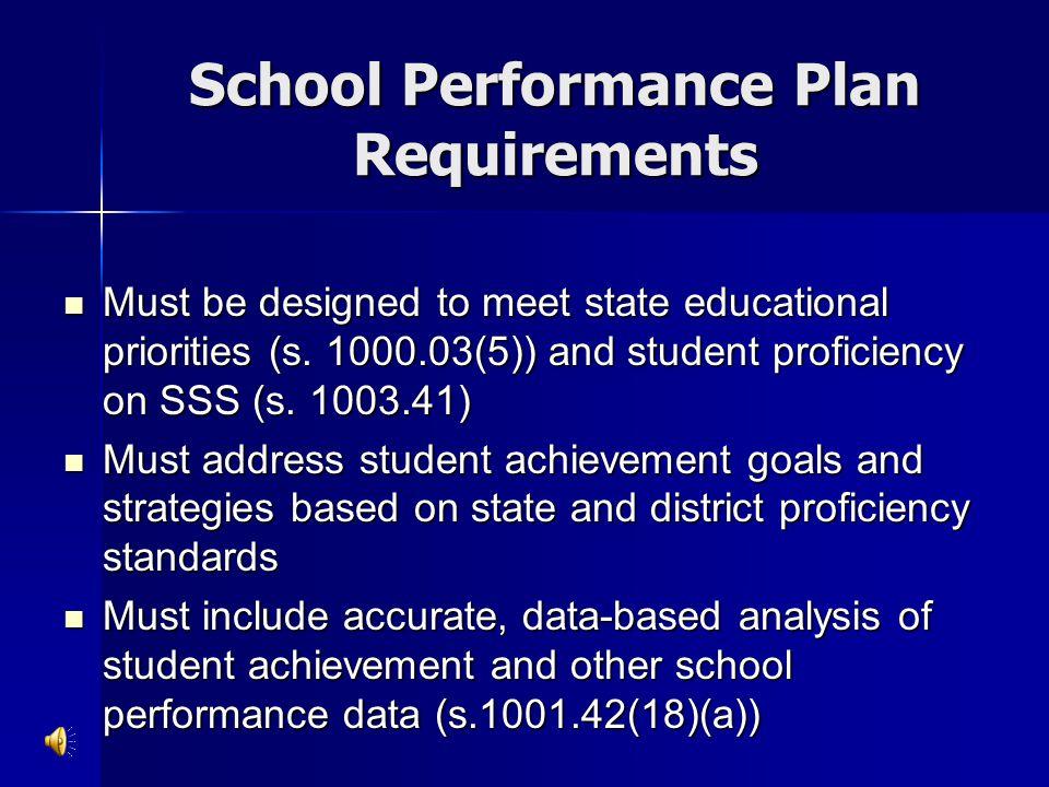 School Performance Plan Requirements
