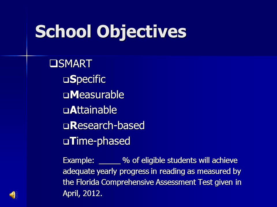 School Objectives SMART Specific Measurable Attainable Research-based