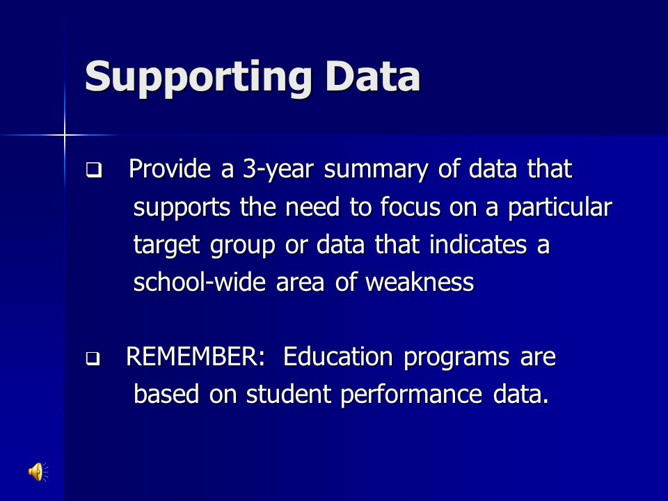 Supporting Data Provide a 3-year summary of data that