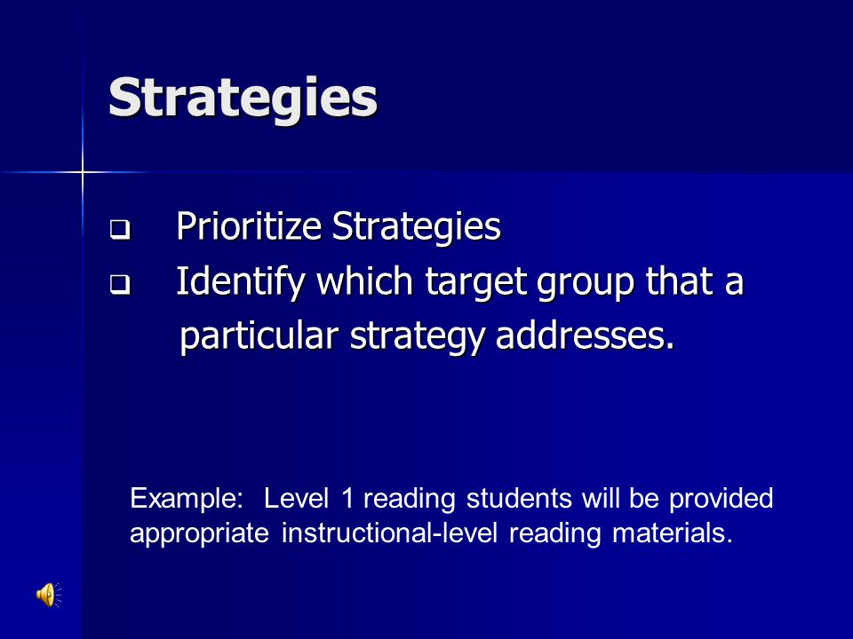 Strategies Prioritize Strategies Identify which target group that a