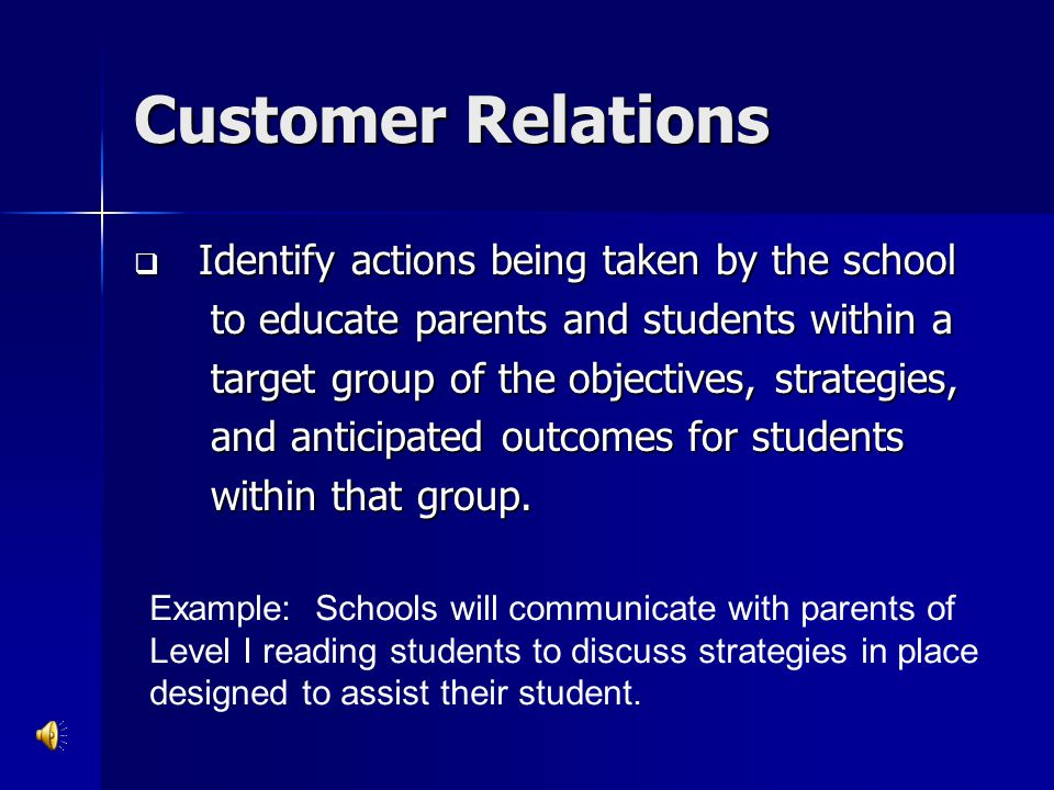 Customer Relations Identify actions being taken by the school